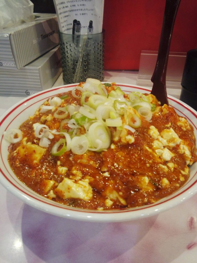 蒙古タンメン 中本 大宮店にて、樺太丼+半冷し味噌ラーメン+ウーロン茶
